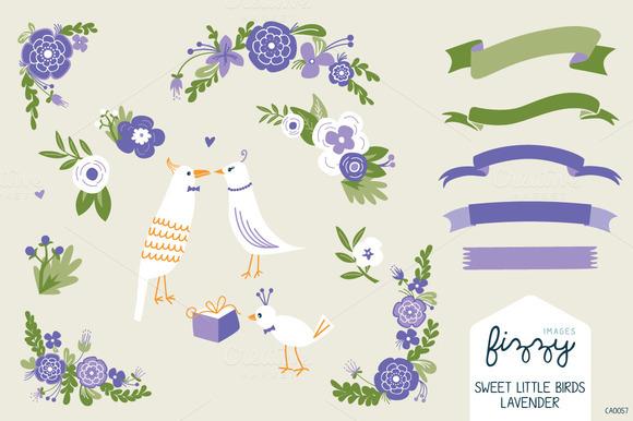 Wedding Lavender Floral Birds Set