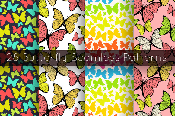 28 Butterfly Seamless Patterns Set
