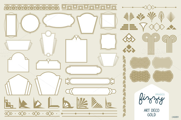 Art deco gold vector elements illustrations on creative for Deco 5 elements