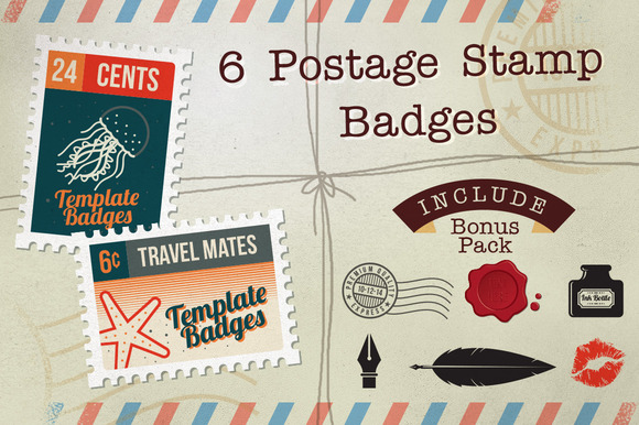 6 Postage Stamp Badges Bonus