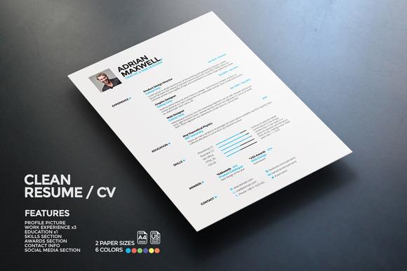 clean resume  resume templates on creative marketclean resume   resumes