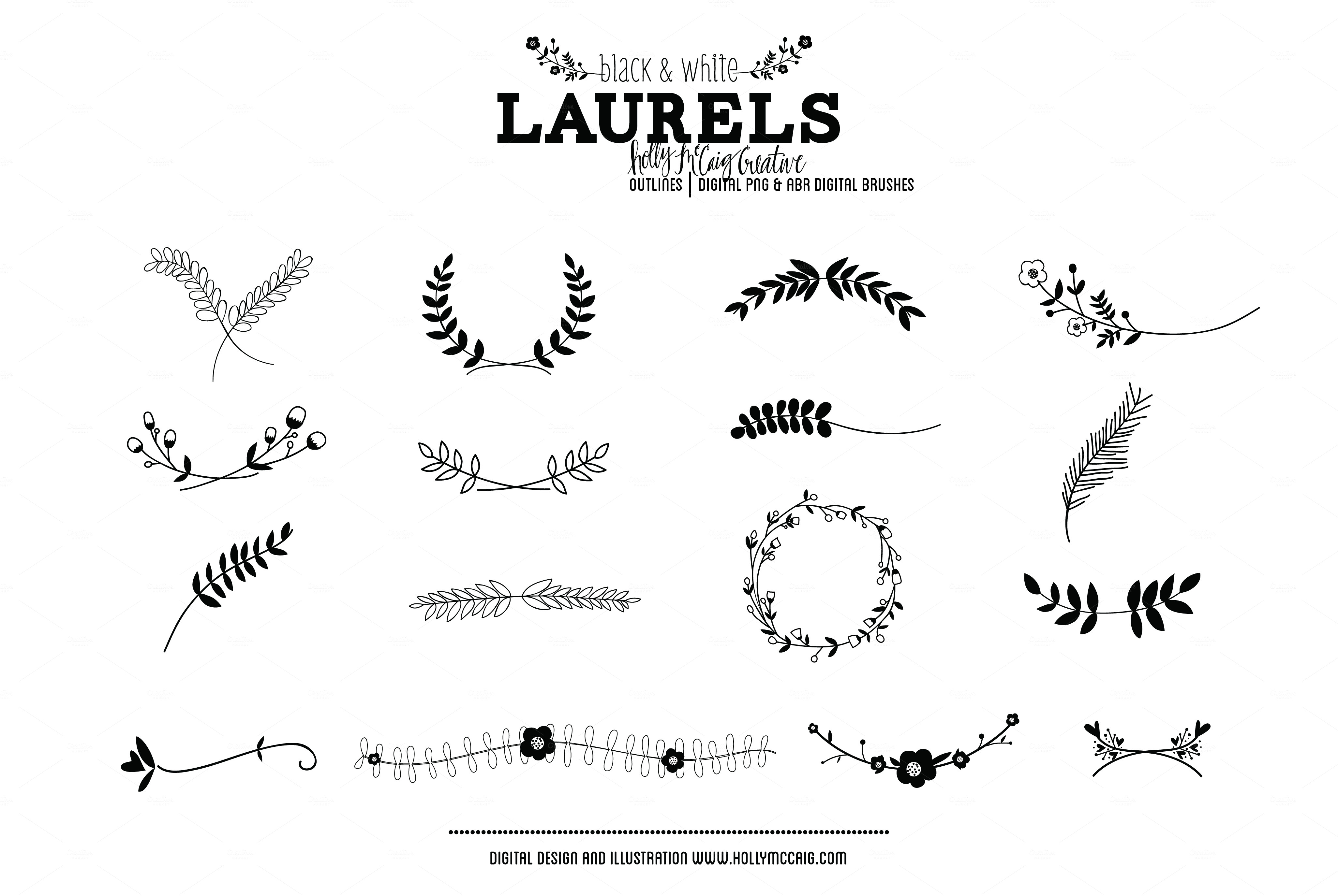 Laurels PNG Photoshop Brush Clipart ~ Illustrations on Creative Market