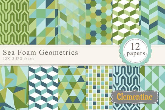 Sea Foam Geometric Papers