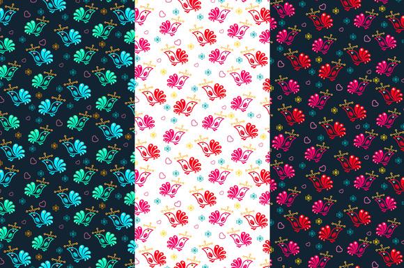 Vector Floral Birds Seamless Pattern