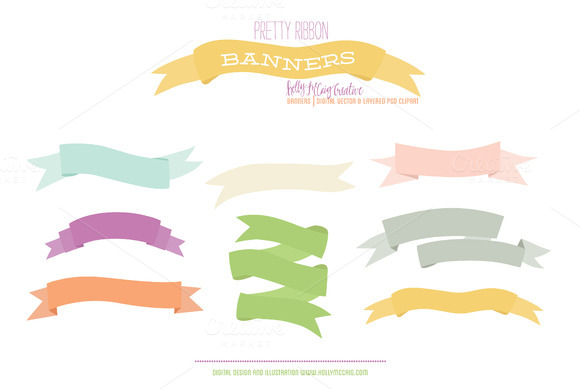 Ribbon Banners Vector Layered PSD
