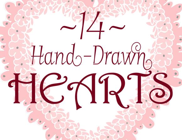 14 Hand-Drawn Hearts