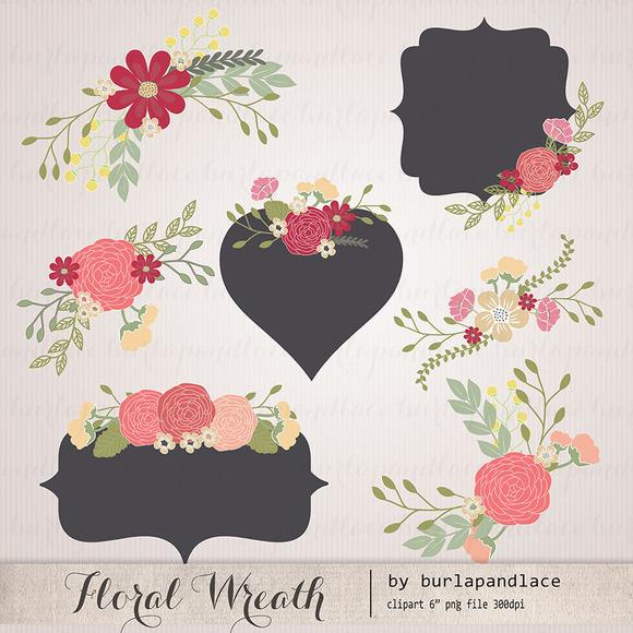 Wedding Floral Wreath Clip Art