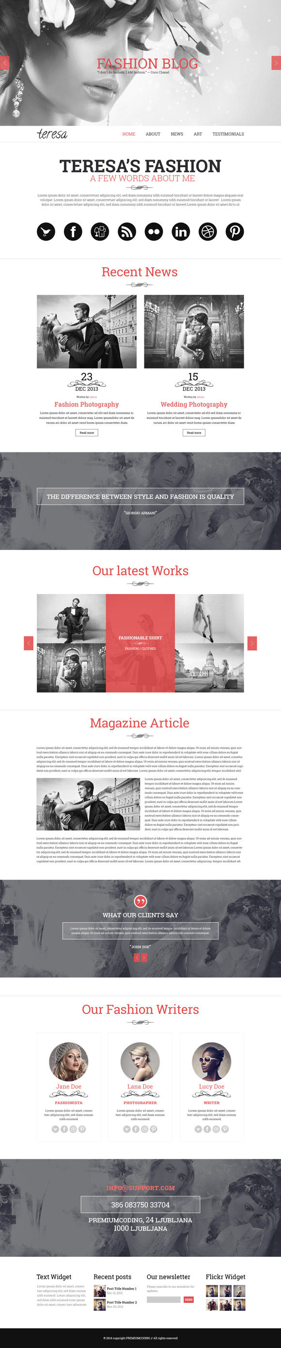 Teresa A One Page PSD Template