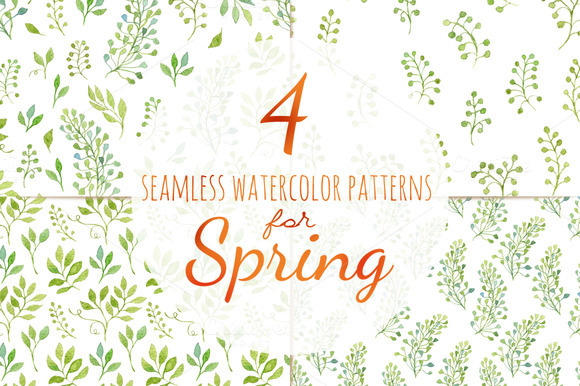 Green Leaves 4 Seamless Patterns