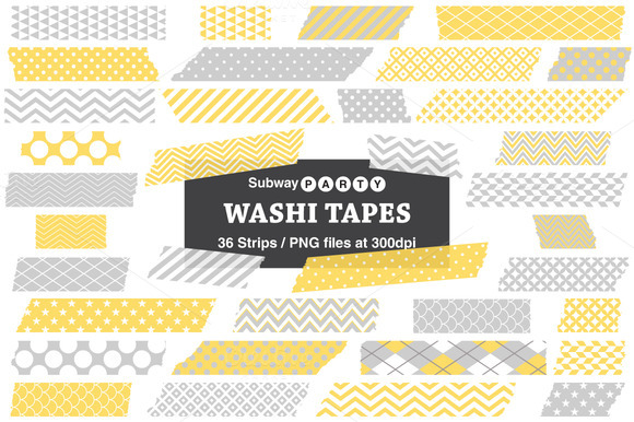 Gray Yellow Washi Tape Strips