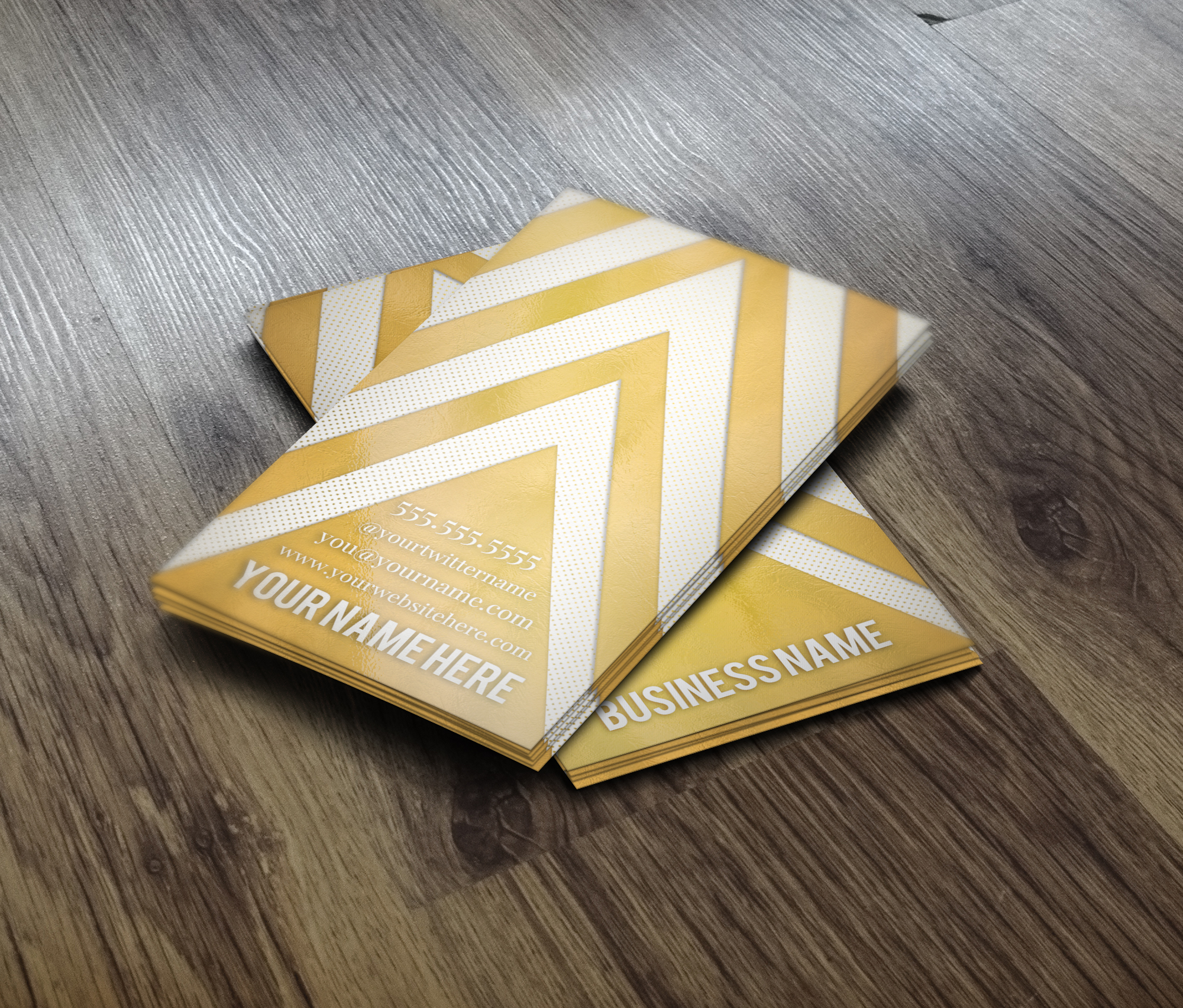 Gold Chevron Business Card Business Card Templates on