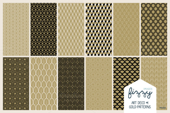 12 X EPS JPG Art Deco1 Gold Patterns