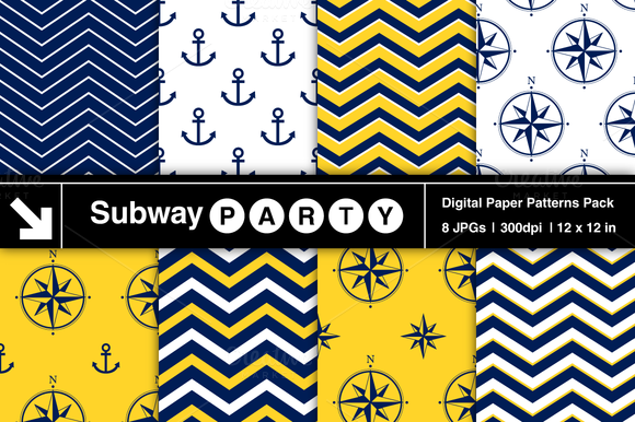 Nautical Navy Yellow Patterns V2