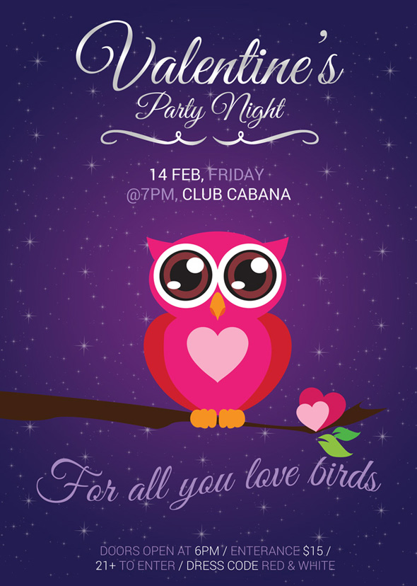 valentine u0026 39 s day cute party flyer
