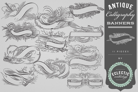 Antique Vector Calligraphy Banners
