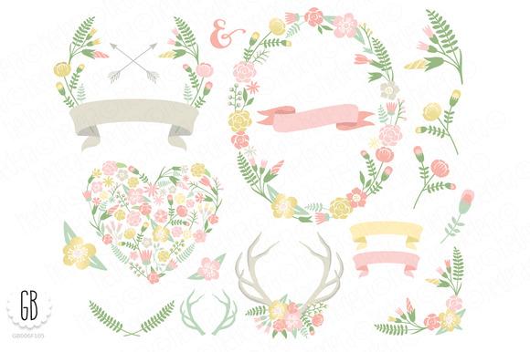 Flower Wreaths Pastel Heart Antlers