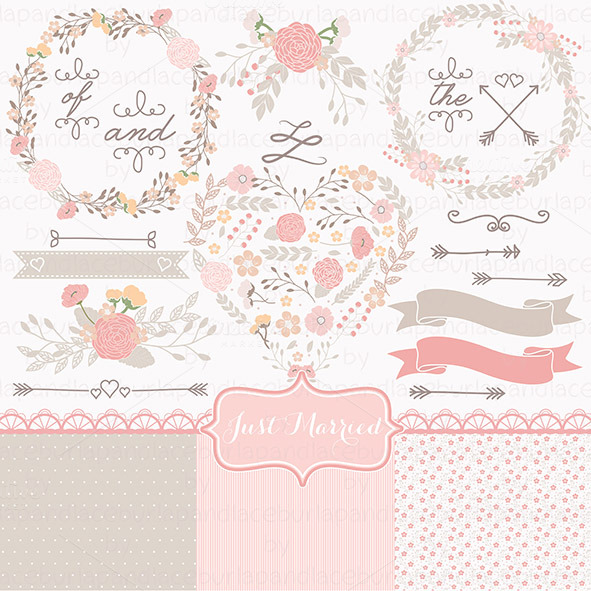 Wedding shabby chic illustrations on creative market for Couronne shabby chic