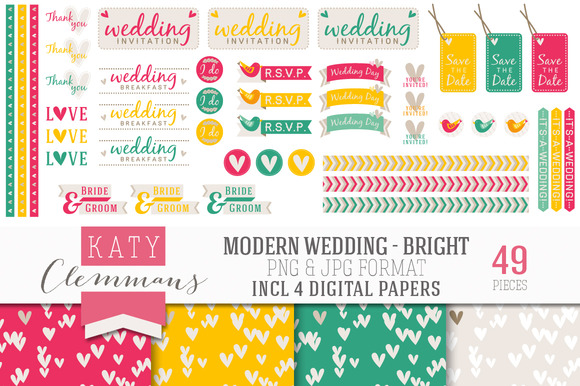 Modern Wedding Bumper Clip Art Pack