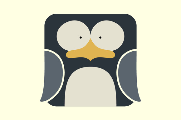 Flat Square Icon Of A Cute Penguin