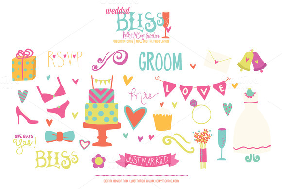 Wedded Bliss PNG Bold Clip Art