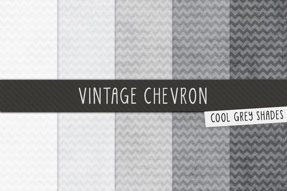Grey Vintage Chevron Digital Papers