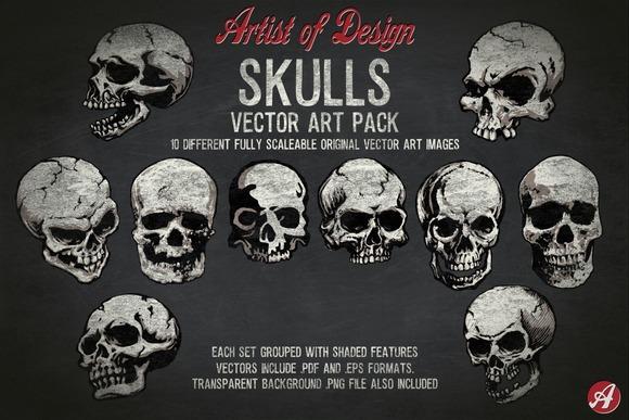 Vector Clip Art Skulls Pack