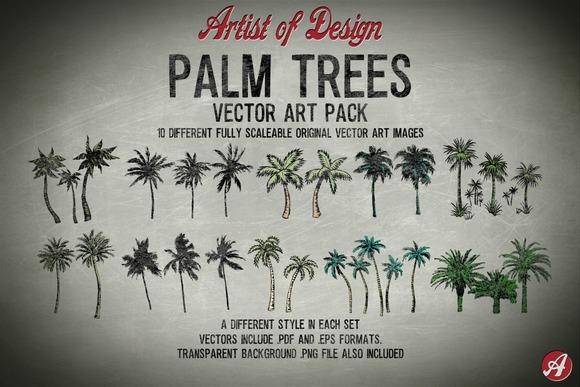 Vector Clip Art Palm Trees