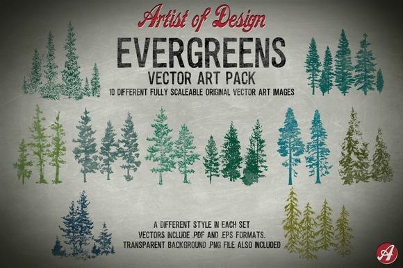 Vector Clip Art Evergreens Pack