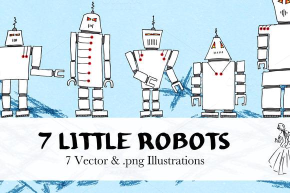 Hand Drawn Vector Robots