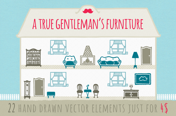 Furniture Elements Vector Set