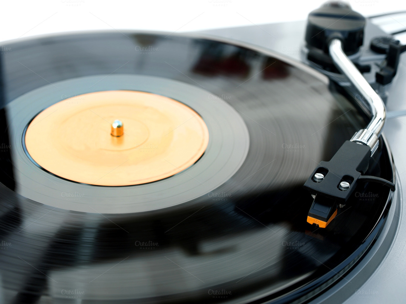 Record Player With Vinyl Playing Technology Photos On