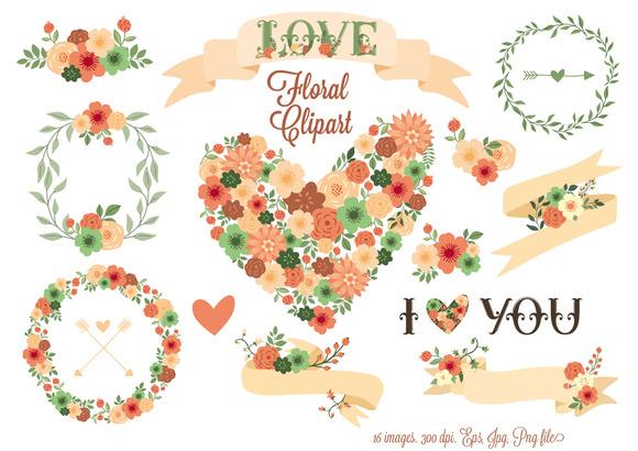 Floral Clip Art. Floral Elements. - Illustrations