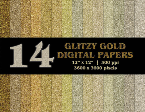 14 Glitzy Gold Digital Papers