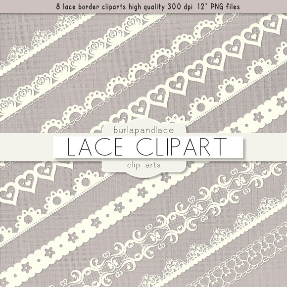 Ivory Lace Borders Clipart