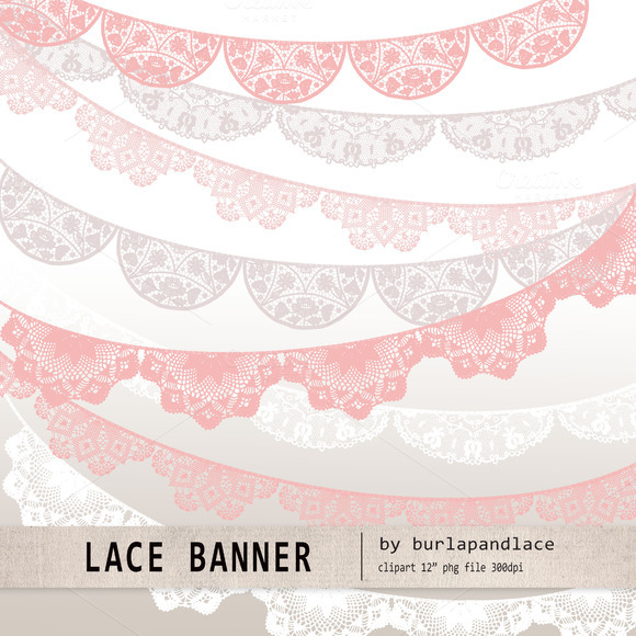 Lace Banner Pink Beige White