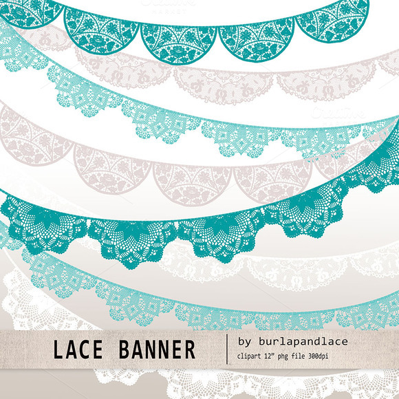 Lace Banner Teal Beige White