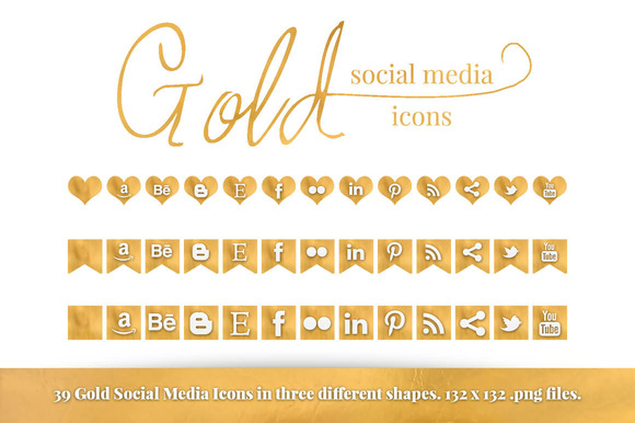Gold Foil Social Media Icon Set