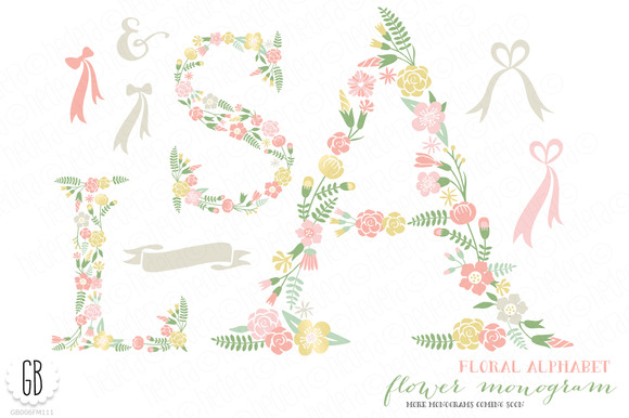 Flower Monogram Floral Type A S L