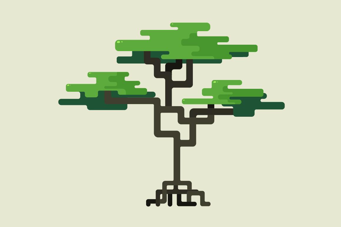 Stylized Geometric Design Of Tree Illustrations On