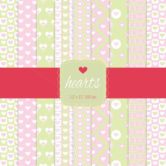 Pink Hearts Digital Paper
