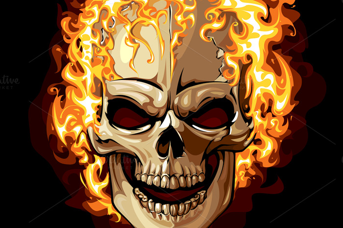 Burning Skull Vector ~ Illustrations on Creative Market