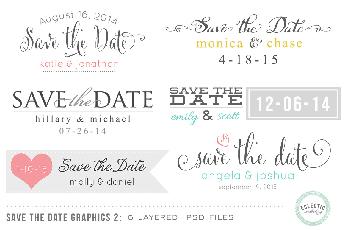 Save the Date Overlays Layered psd ~ Objects on Creative