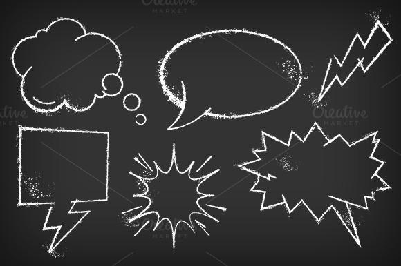 comic speech chalkboard vector set