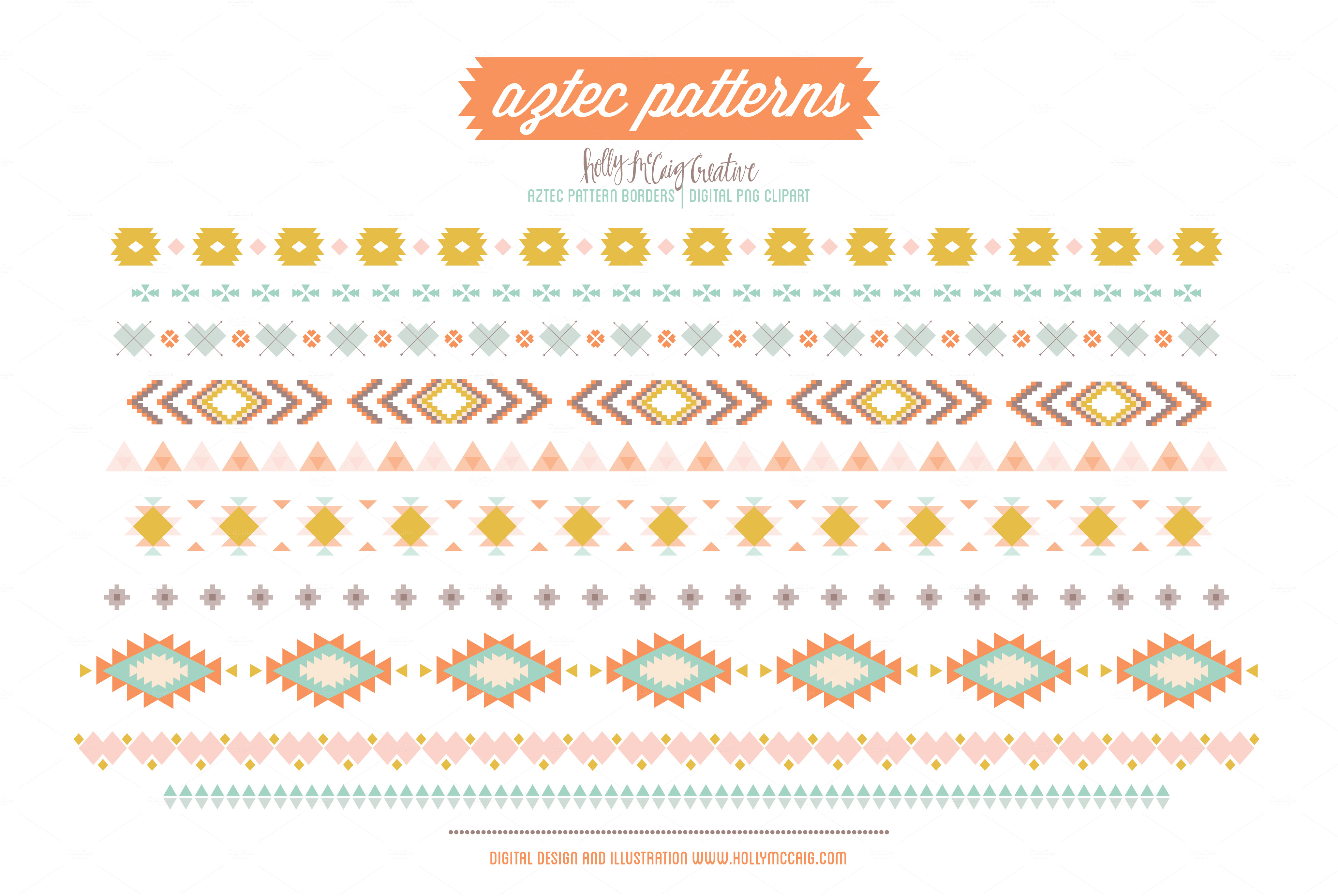 Aztec Tribal Borders PNG Clip Art ~ Illustrations on ...