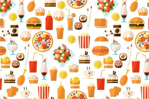 Fast Food Set Menu Yellow Gradient Background Fast Food: Contoh Makanan Fast Food Kartun » Designtube