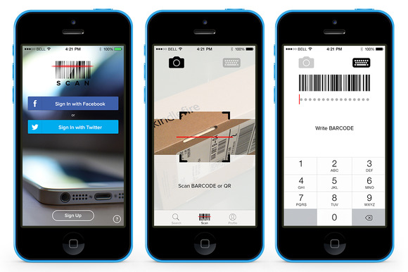 scan app template psd product mockups on creative market. Black Bedroom Furniture Sets. Home Design Ideas