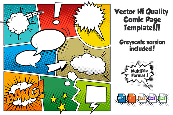 Vector comic page template 1 illustrations on creative for Comic book page template psd