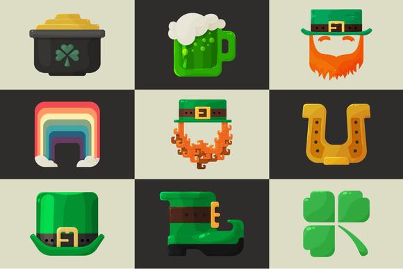 Set of shiny flat St. Patricks Day - Icons