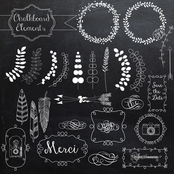 Chalkboard Art Elements Chalkboard Elements And