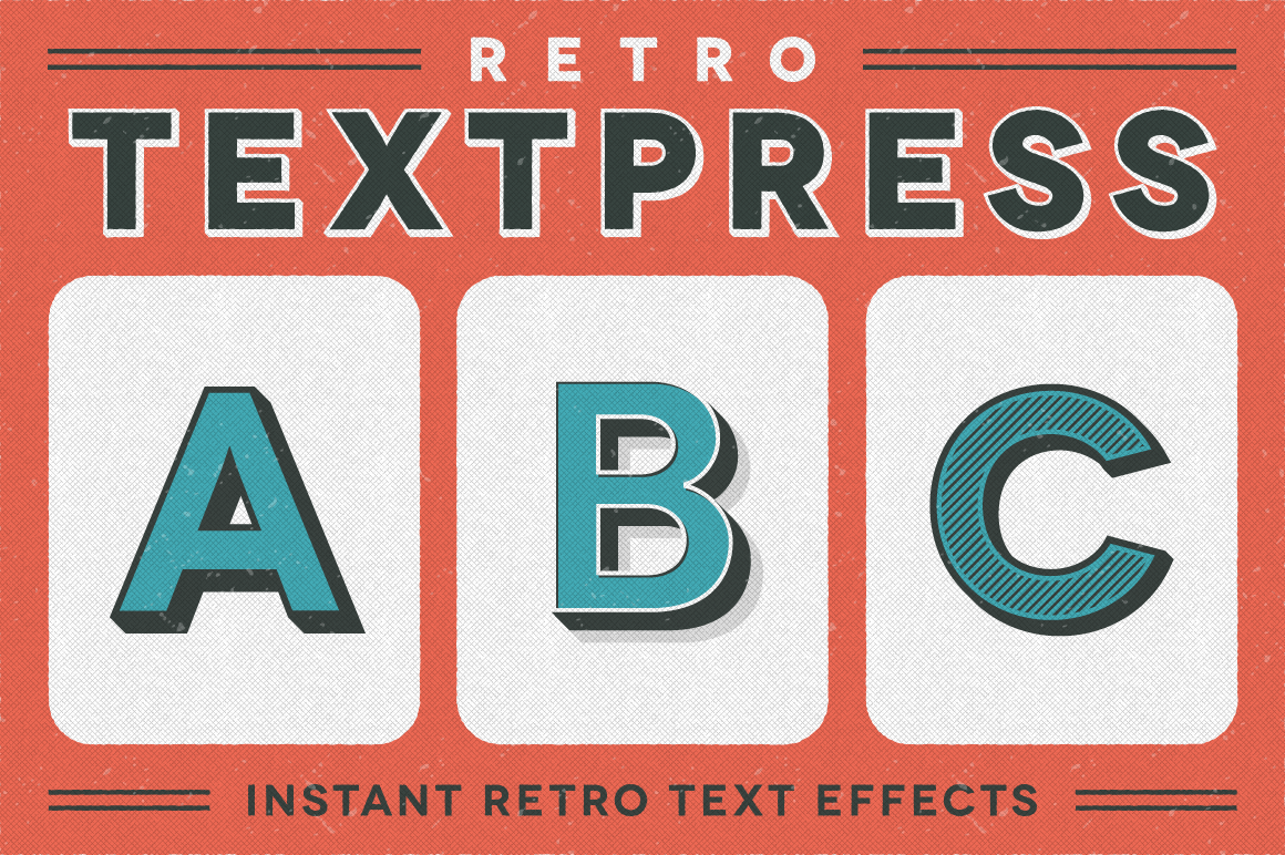 retro textpress illustrator styles layer styles on creative market. Black Bedroom Furniture Sets. Home Design Ideas